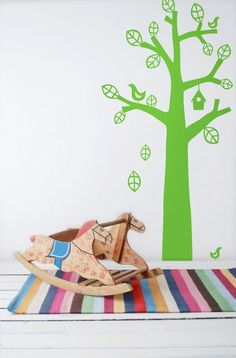 With our decorative WallStickers, it is easy to create a new look and change the style of a room in a matter of minutes.Cut out the leaves, birds and house so you have each element as a seperate sticker. Then you can place each leaf and bird just as you like and create your very own Bird Tree.The WallSticker comes with an additional