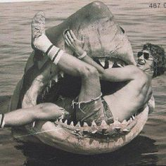 Jaws Behind The Scenes. Bruce the shark and a young Steven Spielberg