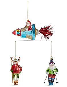 Buy the 3 Pack Travelling Santa's Moulded Glass Baubles from Marks and Spencer's range. Christmas Presents, Christmas Ornaments, Glass Molds, Santa And Reindeer, Travel Packing, Sparkle, Seasons, Create, Holiday Decor