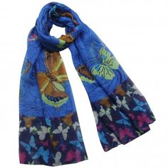 Brilliant Butterfly Rose Flower Imprint Long Scarf Shawl Sarong