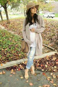 Not sure if I could pull off boyfriend jeans with a loose and flowy sweater, but LOVE the sweater.  No to the hat though
