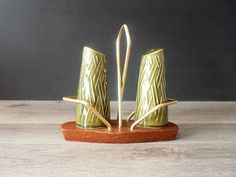 Mid Century Modern Wynware Salt and Pepper Shaker with Stand