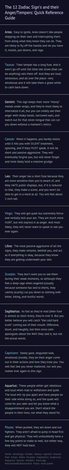 enchantedbytheuniverse.tumblr.com - The 12 Zodiac Sign's and their Anger/Tempers: Quick Reference Guide