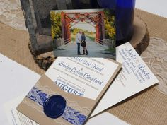 Pocket invitations with Navy wax seal, Bride had the most beautiful ideas.