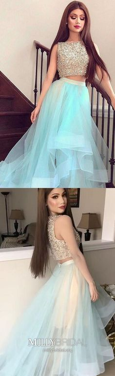 Two Piece Prom Dresses Long, Light Sky Blue Formal Evening Dresses Sparkly, A-line Pageant Dresses Modest, Sexy Graduation Dresses Organza #MillyBridal #skybluedress #twopiecepromdress #pageantdresses