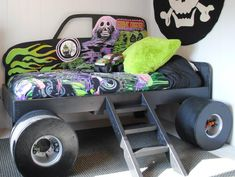"""custom-made Grave Digger Monster Truck bed (from Gabriel's Special Spaces Tri-Cities makeover) *notice the monster truck magnets inside the bed """"wheels""""  www.specialspacestricities.org"""