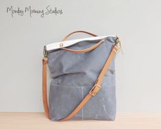 373fb2ef077 Grey Waxed Canvas Tote, Converts to Foldover Bag with Adjustable Leather  Strap, Waxed Canvas Bag, Plus Size Crossbody Purse, Made in USA