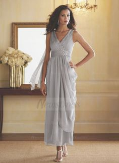 Sheath/Column V-neck Ankle-Length Ruffle Beading Cascading Ruffles Chiffon Zipper Up Regular Straps Sleeveless No Silver Spring Summer Fall General Mother of the Bride Dress