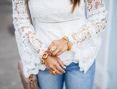 haute off the rack, white lace crochet top, distressed jeans, gg marmont matelasse shoulder bag, rayban round sunglasses, steve madden, ava sandals, womens fashion, womens handbag, spring style, julie vos jewelry, liketoknow.it app, white statement top, spring outfit, gucci handbag