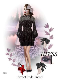 """""""Dress"""" by kari-c ❤ liked on Polyvore featuring Marni, Alexander McQueen, Jimmy Choo, Thierry Mugler and bellsleevedress"""