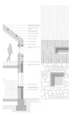 Detalhe construtivo - alvenaria - cobertura - telhado