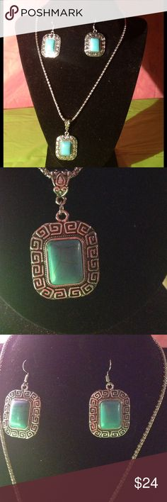 Beautiful Turquoise Matching Set Beautiful turquoise and silver necklace &a earring set. Can be warn for nearly any occasion. Jewelry Necklaces