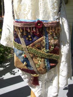 Gypsy Bohemian Hippie Crazy Quilt Cross Body Bag Purse. $40.00, via Etsy.