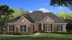 Home Plan HOMEPW77287 - 1850 Square Foot, 4 Bedroom 2 Bathroom Ranch Home with 2 Garage Bays | Homeplans.com