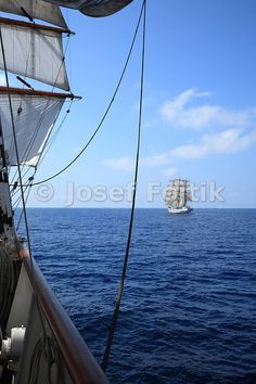 Russian sail training ship Mir, picture from board of Sedov four masted barque, Funchal 500 Race 2008, Atlantik Ocean
