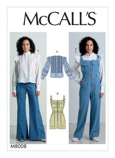 McCall's Sewing Pattern Misses' Top, Romper, and Overalls Mccalls Sewing Patterns, Vintage Sewing Patterns, Clothing Patterns, Loose Fitting Tops, Loose Tops, Gilet Kimono, Patron Butterick, Vogue, Extra Fabric