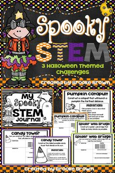 Pumpkin Catapults, Spider Web Bridges, and Candy Towers! THREE Halloween STEM Challenges for your elementary engineers in October! | STEM Activities | STEM Projects