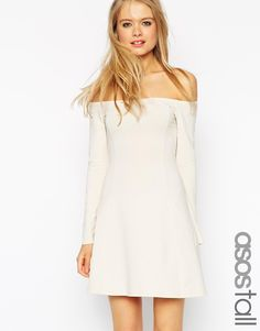 ASOS TALL Skater Dress With Seamed Detail and Flared Sleeves