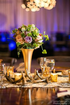 Small Purple And Green Floral Arrangement On A Wooden Estate Table With A Gold  Table Runner And Antlers   Pinterest   Gold Table Runners, Wedding Shoot And  ...