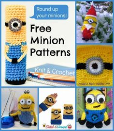 Despicable Me: 6 Free Minion Patterns I had to hide this one from Megan seeing it lol, I might try one of these for her, she loves minions from dispicable me lol Minion Crochet, Knit Or Crochet, Cute Crochet, Crochet For Kids, Crochet Crafts, Crochet Dolls, Yarn Crafts, Crochet Projects, Amigurumi Patterns