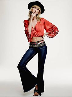 Free People Denim Super Flare, $78.00
