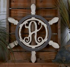 Unfinished Monogram Wooden Ship Wheel Door Wreath or Hanger! Adorable! Perfect for any lake or beach house!