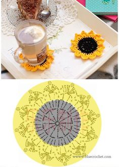 Terrific Totally Free Crochet coasters sunflower Popular Crochet coasters Sunflower FREE PATTERN by jodi – Mandala Au Crochet, Crochet Sunflower, Sunflower Pattern, Crochet Flower Patterns, Crochet Motif, Crochet Doilies, Crochet Flowers, Crochet Ideas, Crochet Kitchen