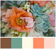 brown, ocean, cream, peach, pink - very nice...purple instead of brown