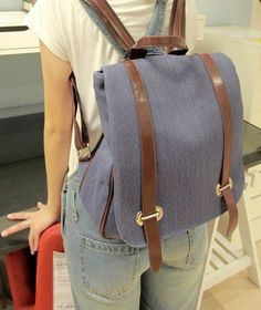 Women's Leisure Small Canvas Backpack Japanese Style Color Blue  - Click image twice for more info - See a larger selection of blue backpacks at http://kidsbackpackstore.com/product-category/red-backpacks/. - kids, juniors, back to school, kids fashion ideas, teens fashion ideas, school supplies, backpack, bag , teenagers girls , gift ideas, blue
