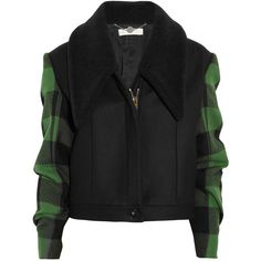Stella McCartney Enid faux shearling and wool plaid jacket (€620) ❤ liked on Polyvore featuring outerwear, jackets, coats, tops, leaf green, sherpa jacket, zipper jacket, green plaid jacket, wool jacket and tartan jacket