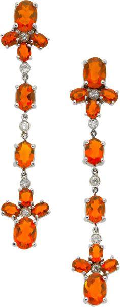 Naina Fire Opal, Diamond, and Gold Earrings | The House of Beccaria#