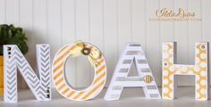 Noah 3D Letters - #svgcuts files - Cut on the Silhouette Cameo