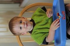 """I love these dish towel bibs.  They are so easy to make, have great coverage, and are easy to wash.  They're also cute with an applique. (I'm pinning this to remind myself that the knit ribbing is 2.5""""x12"""" each.)"""