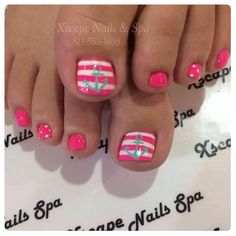 Pink and white stripes with anchor toes