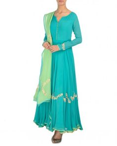 Turquoise Green Anarkali Suit with Fern Green Dupatta