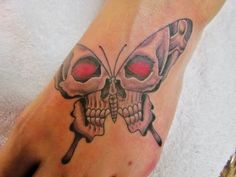 Butterfly Skull Tattoo on Foot
