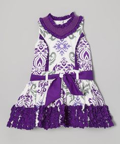 Look at this Trish Scully Child Purple Damask Ruffle Princess Dress - Toddler on #zulily today!