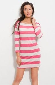 Casual: Pink striped boatneck dress