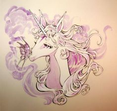 Inspired by the beautiful concept art of Hidemi Kubo for the animated film, Randy Queen perfectly captures the grace 16 Tattoo, Art Magique, Tattoo Schwarz, Fantasy Creatures, Mythical Creatures, Unicorn Tattoos, The Last Unicorn, Bristol Board, Unicorn Art