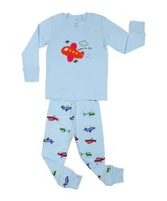 Look at this #zulilyfind! Light Blue Airplane Pajama Set - Infant, Toddler & Boys by el-ow-el pajamas #zulilyfinds