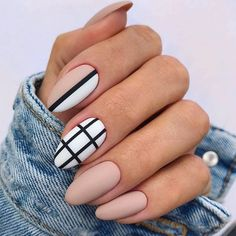 Elegant Fall Nail Art Designs You'll Love - Matte Nude Nails With Black Strip ❤ 35 Fall Nail Art Designs You'll Love ❤ See more ideas on - Fall Almond Nails, Classy Almond Nails, Natural Almond Nails, Short Almond Nails, Almond Shape Nails, Classy Nails, Stylish Nails, Fall Nails, Simple Nails