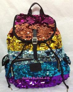 Rainbow sparkly backpack from PINK♡ Colorful Backpacks, Cute Backpacks, Sequin Backpack, School Bags, Luggage Bags, Bag Making, Victoria's Secret Pink, Fashion Backpack, Bag Accessories