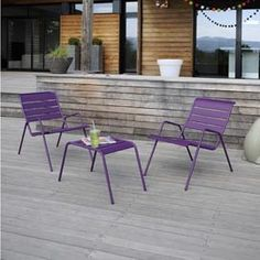 Salon de jardin bas Monceau Aubergine : Table basse + 2 Fauteuils - Fermob