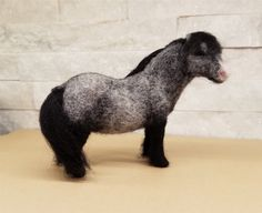 Miniatur-Nadel Filz Nadel Filz-Pferd, Pony, graue Pony, grauen Shetland-Pony…