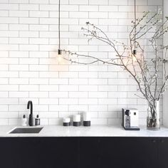 SIMPLE YET STUNNING... Subway tiles, black tapware and pendants- love xo Image via @oraclefoxblog