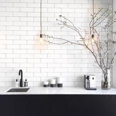 SIMPLE YET STUNNING... Subway tiles, black tapware and pendants- love xo Image via @oraclefoxblog