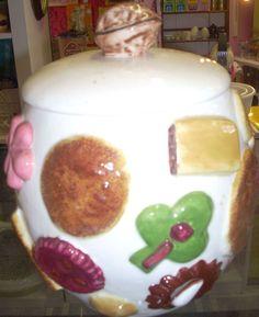 Charming vintage LA Pottery Cookies All Around cookie jar with walnut