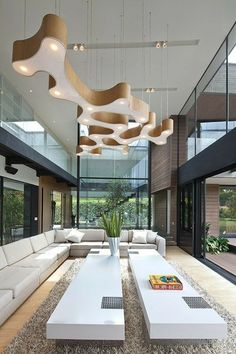 Posh Living Room Design Ideas For Luxurious Home Dream Home Design, Modern House Design, Modern Interior Design, Design Exterior, Luxury Homes Dream Houses, Dream House Exterior, Cozy Living Rooms, Apartment Living, Future House
