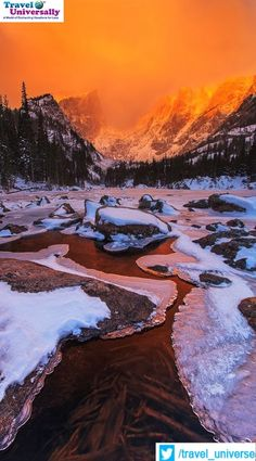 #Beautyofnature #Colorado #Sunrise  Beautiful Sunrise over Dream Lake, Rocky Mountain National Park, Colorado  Rocky Mountain National Park is a national park located in the north-central region of the U.S. state of Colorado  For more travel updates be connected to  Travel Universally