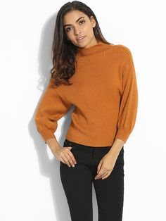 Puff Sleeve High Neck Worsted Plain Sweater